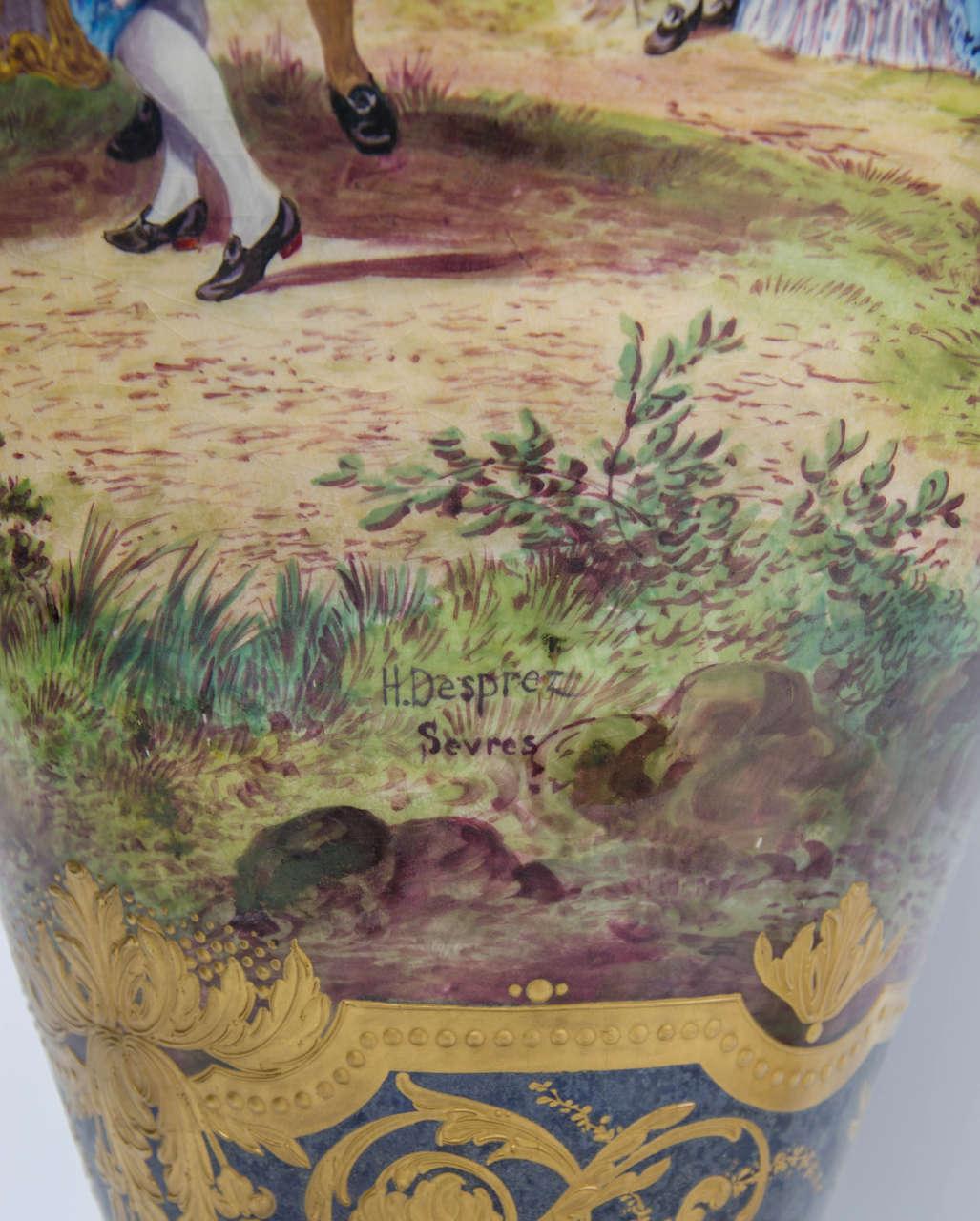 Ormolu Pair of Antique Sèvres Vases For Sale