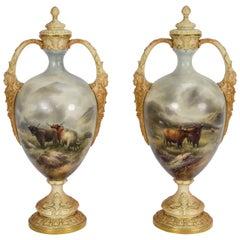 Pair of Worcester Vases by John Stinton