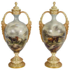 Pair of Worcester Vases by John Stinton