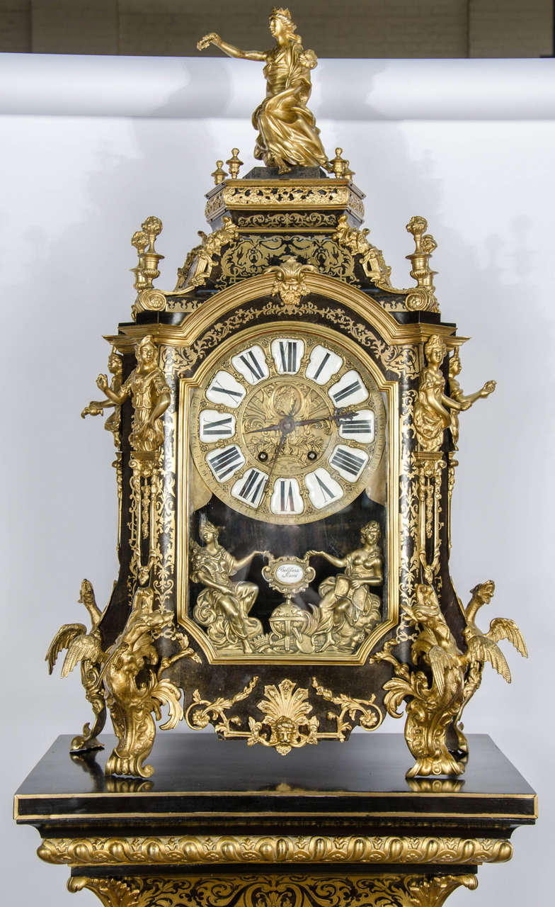French Louis XV style Boulle Clock on pedestal, 19th Century For Sale