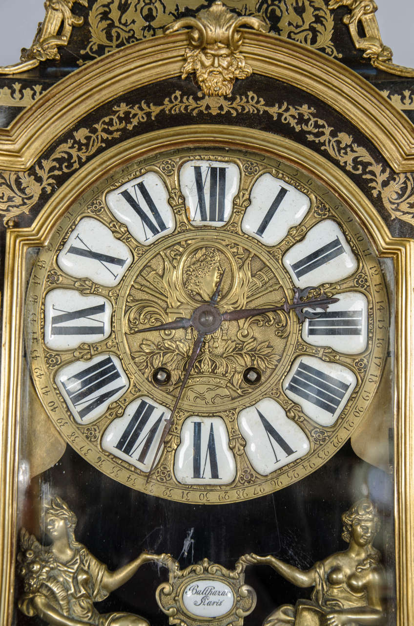 Inlay Louis XV style Boulle Clock on pedestal, 19th Century For Sale