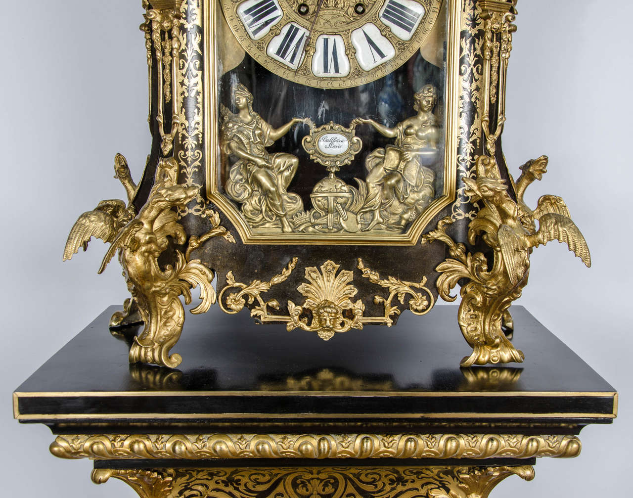 Louis XV style Boulle Clock on pedestal, 19th Century In Good Condition For Sale In Brighton, Sussex
