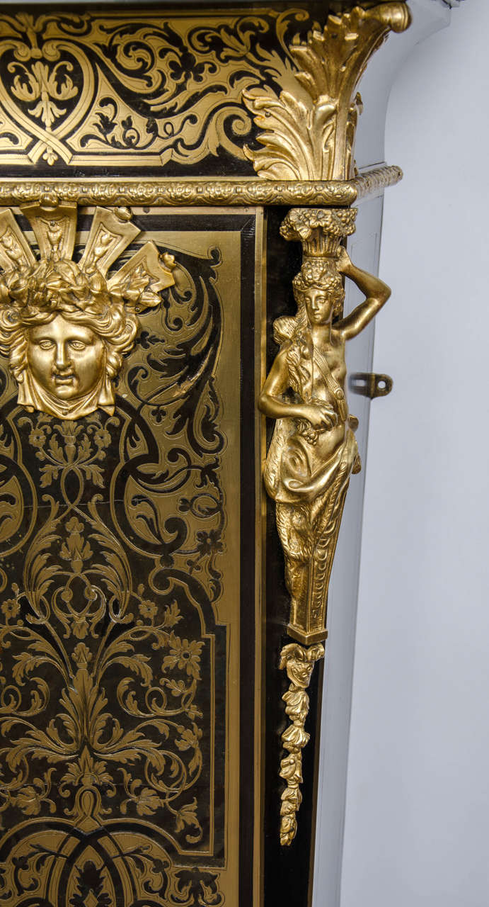 Louis XV style Boulle Clock on pedestal, 19th Century For Sale 1