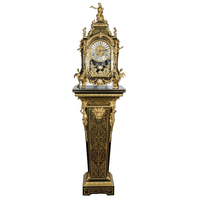Louis XV style Boulle Clock on pedestal, 19th Century For Sale