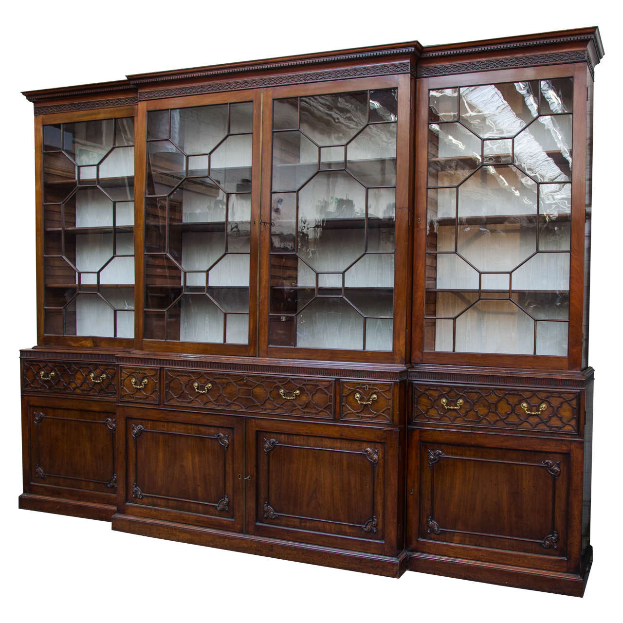 Large Mahogany Chippendale Period Breakfront Bookcase For