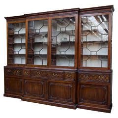 Mahogany Chippendale Period Breakfront Bookcase