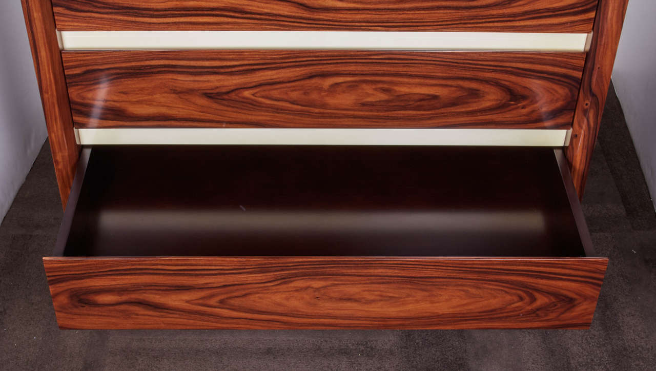 Lacquered Pair of Vintage Rosewood Dressers with Parchment Accents For Sale