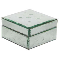 Hollywood Mirrored Box with Concentric Etched Designs