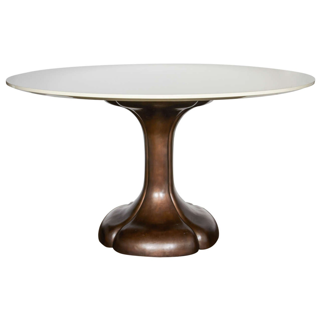 Art nouveau style round dining table with bronze pedestal for Dining room table pedestal bases