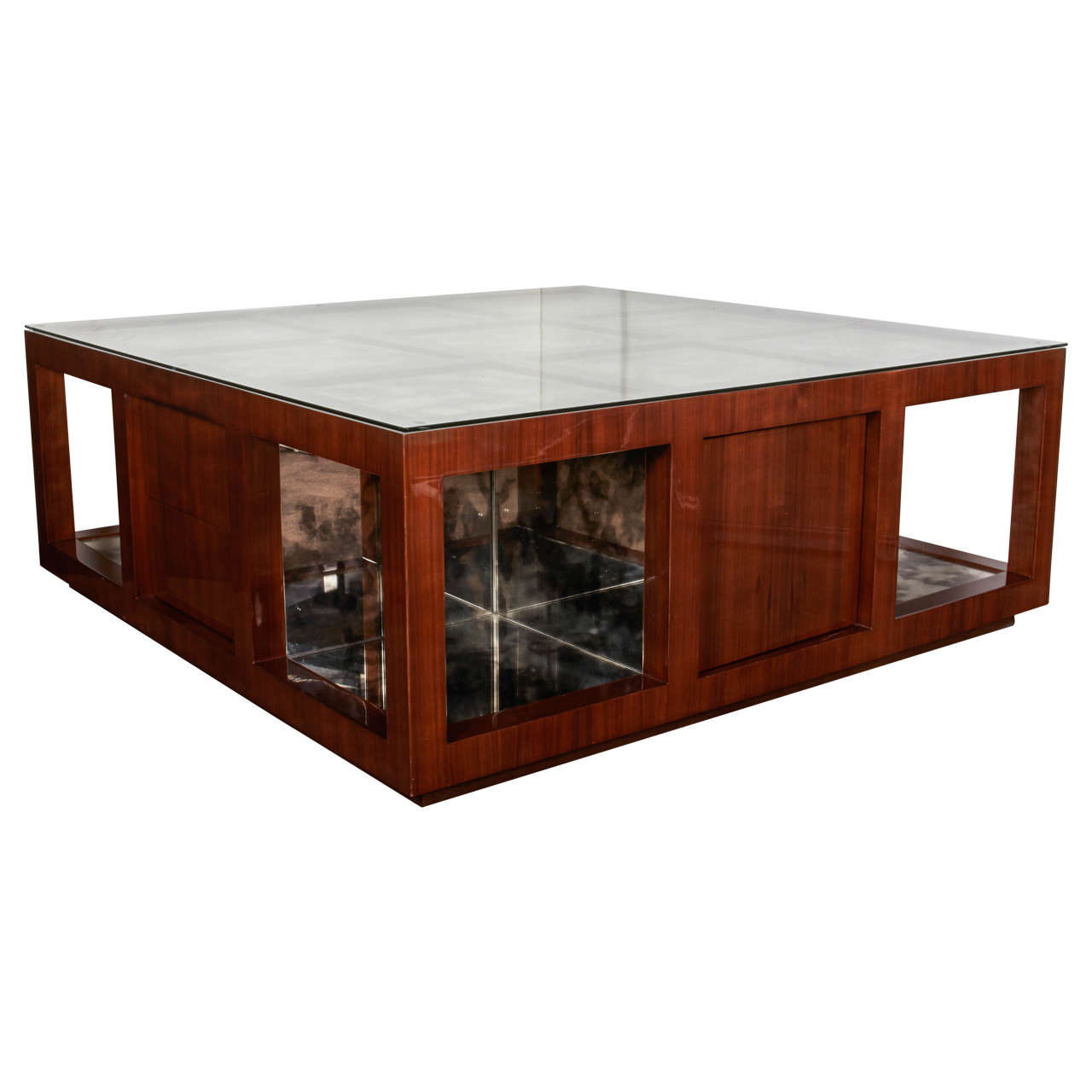 Grand scale hollywood coffee table in walnut wood with for Mirror and wood coffee table