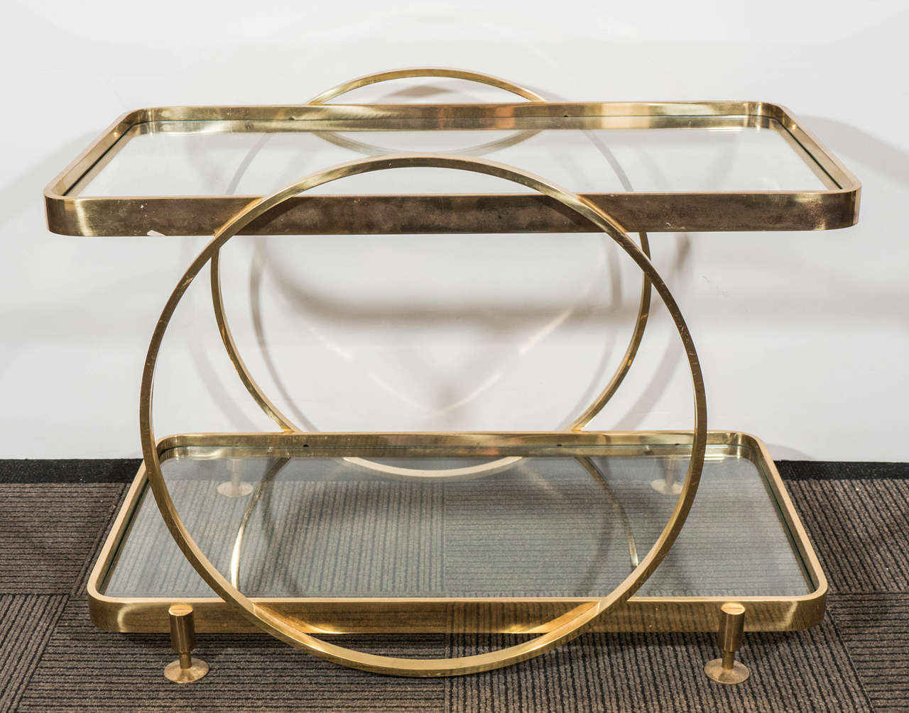Midcentury Italian Two Tier Brass Serving Or Side Table