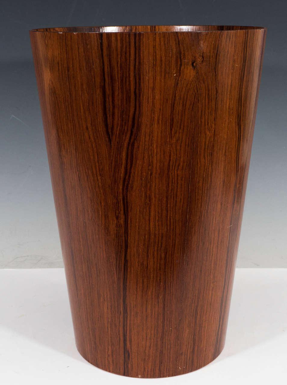 A Vintage Scandinavian Cylindrical Waste Basket Veneered In Exotic Wood Marked On Underside With