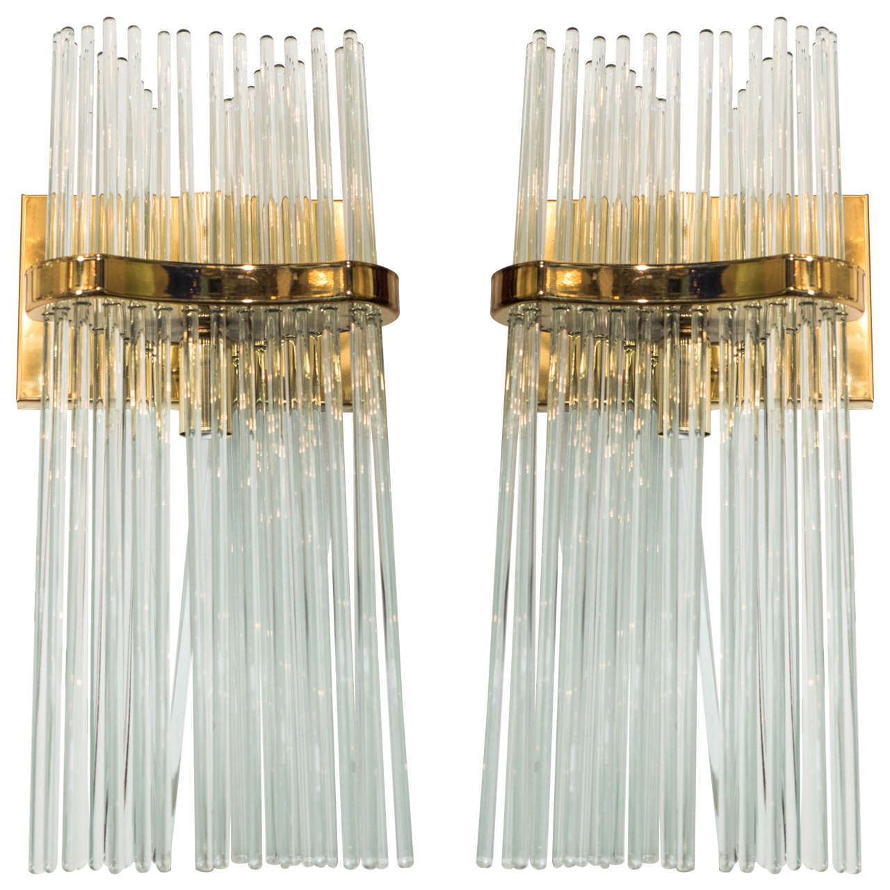 a pair of midcentury brass and glass rod sconces by lightolier at  - a pair of midcentury brass and glass rod sconces by lightolier