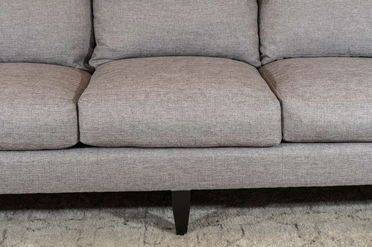 Mid-Century Modern Late 20th Century English Arm Sofa in Grey Linen and Down Cushions For Sale