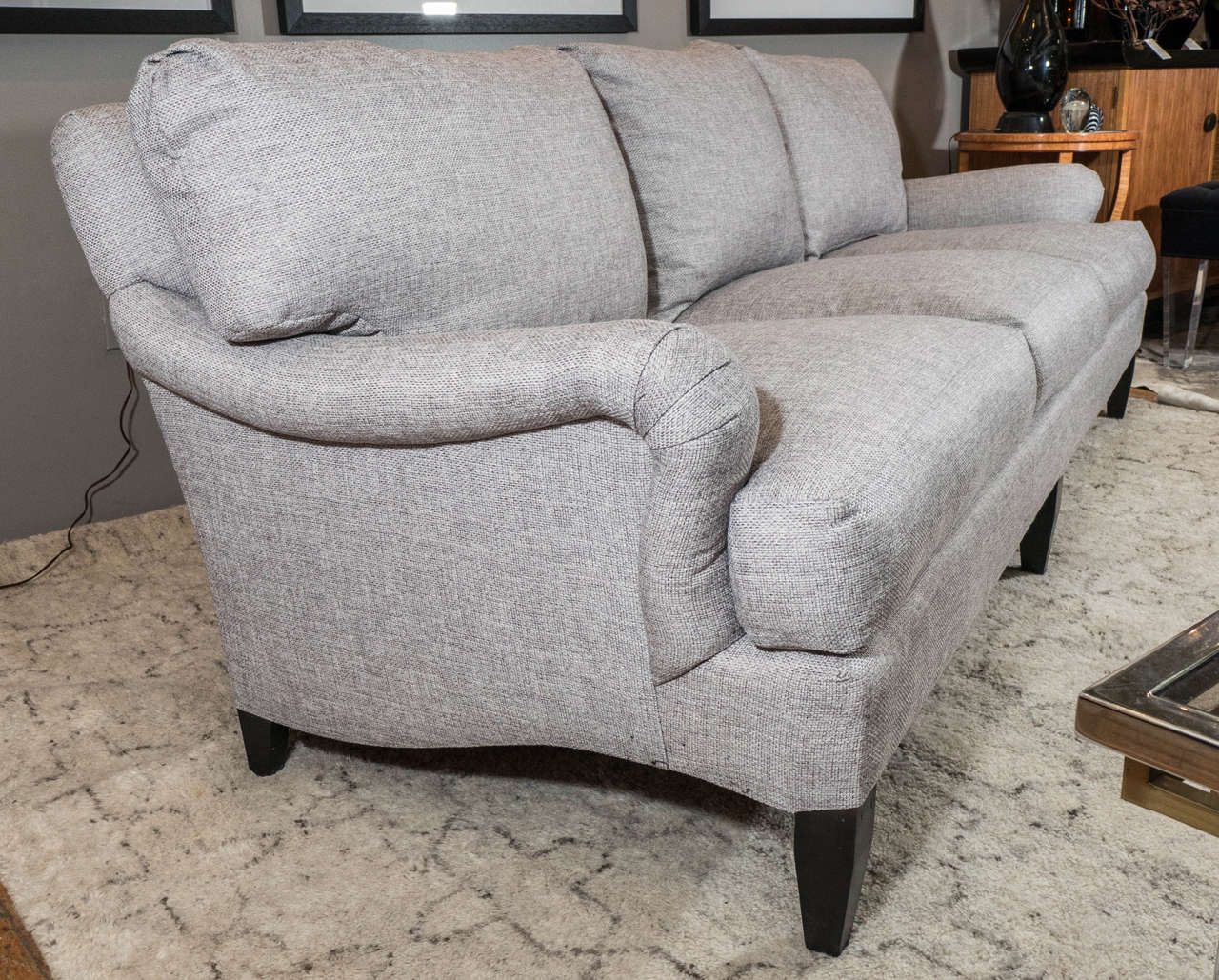 Ebonized Late 20th Century English Arm Sofa in Grey Linen and Down Cushions For Sale