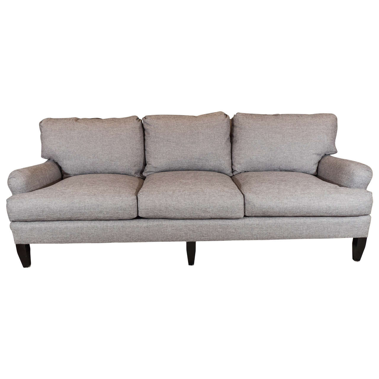 Late 20th Century English Arm Sofa in Grey Linen and Down Cushions For Sale