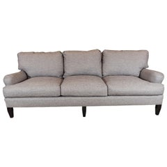 Late 20th Century English Arm Sofa in Grey Linen and Down Cushions