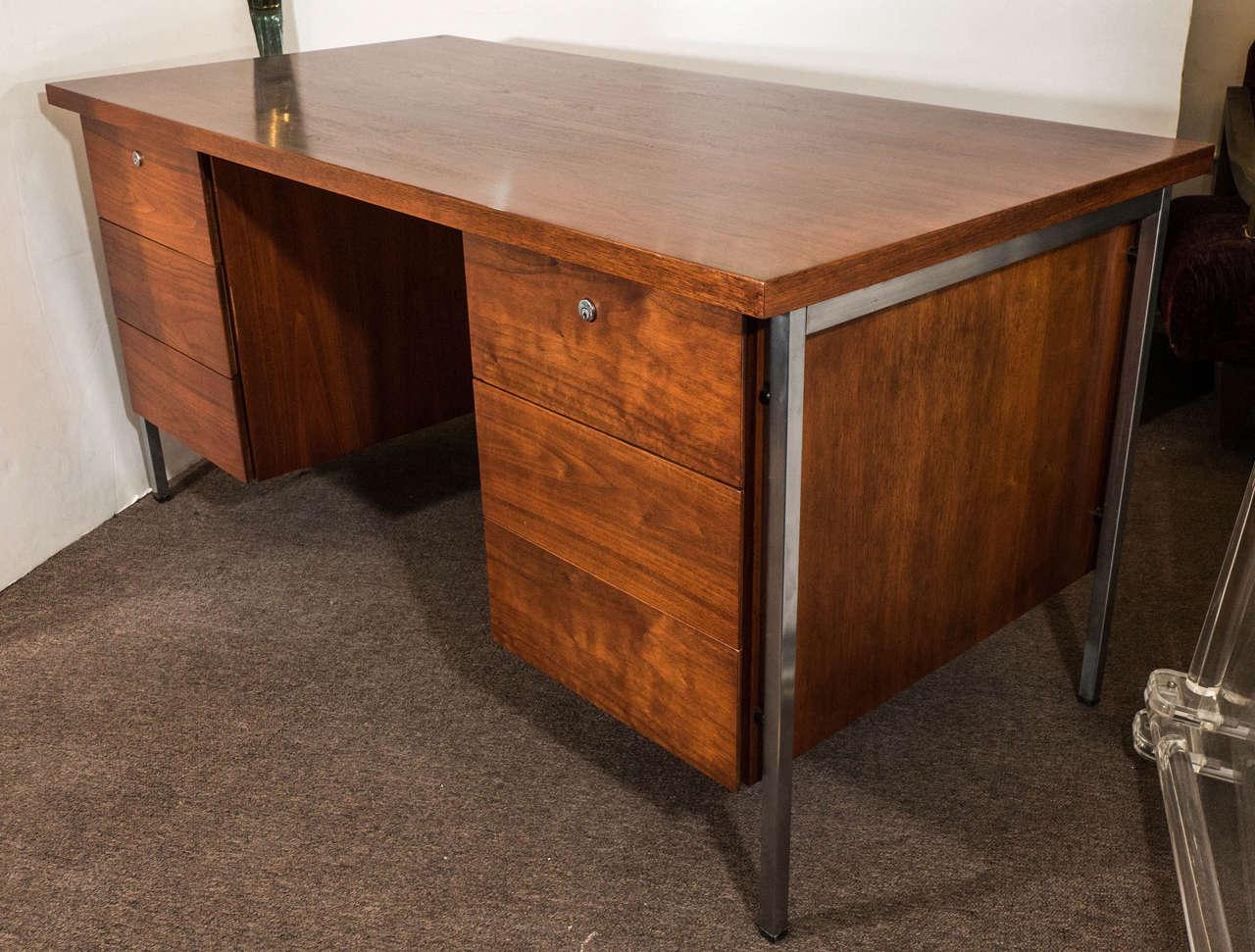 Midcentury Florence Knoll Walnut Desk On Chrome Legs