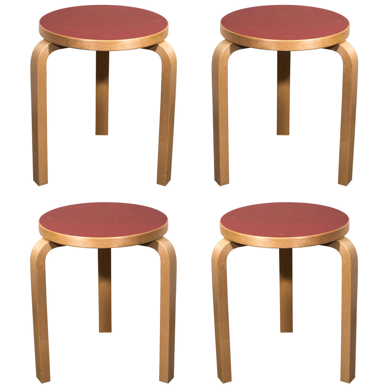 Contemporary Finnish Set Of Four Modern Style Birch Stools