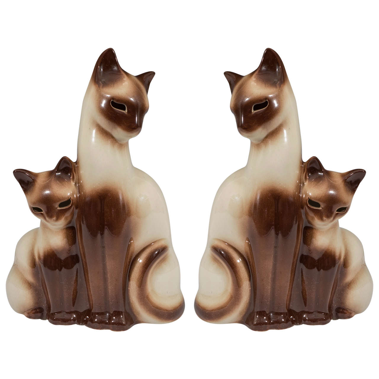 A Midcentury Pair Of Ceramic Siamese Cat And Kitten TV Lamps By Howard Kron  For Sale
