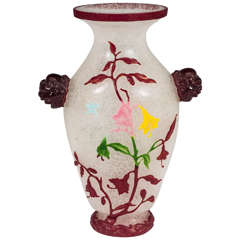 A Late 19th Century Chinese Cut-Glass Peking Vase with Decorative Floral Motif