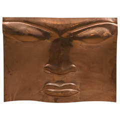 Midcentury Embossed Copper Plate Wall Sculpture with Serene Face