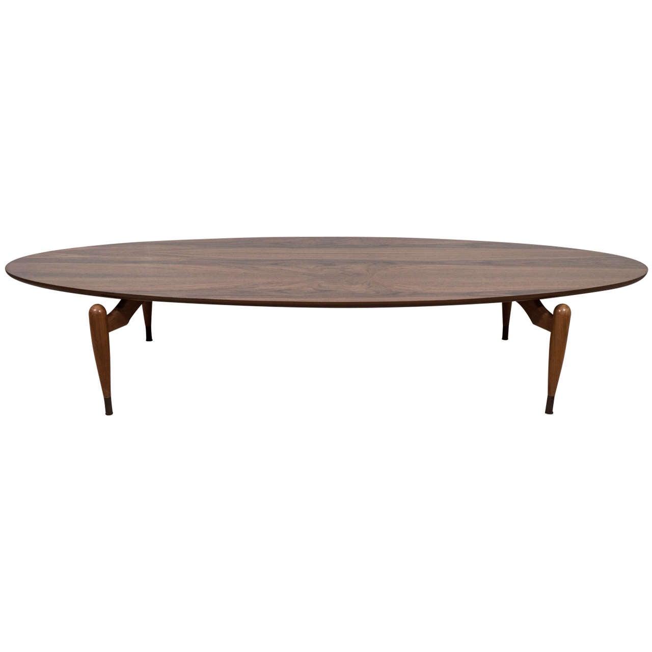 Midcentury Walnut Oval Coffee Table At 1stdibs