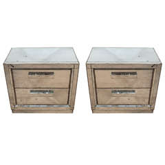 A Midcentury Pair of Antiqued Two-Drawer Mirrored Nightstands