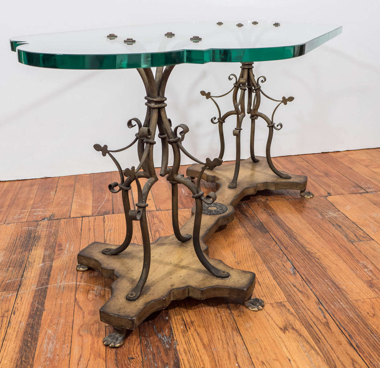 Wonderful image of  Gilt Wrought Iron and Wood Coffee Table with Glass Top at 1stdibs with #0C6150 color and 1280x1240 pixels