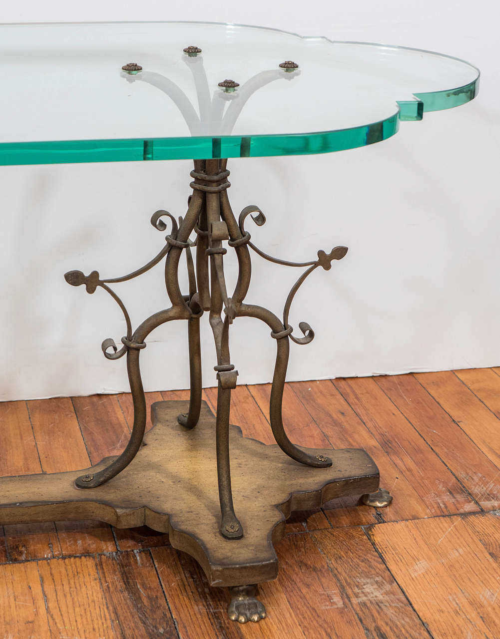 Midcentury sculptural gilt wrought iron and wood coffee for Rod iron and wood coffee table