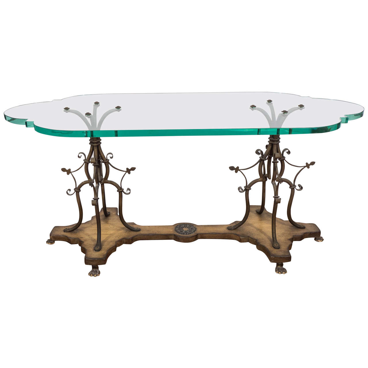 Midcentury Sculptural Gilt Wrought Iron And Wood Coffee Table With Glass Top At 1stdibs