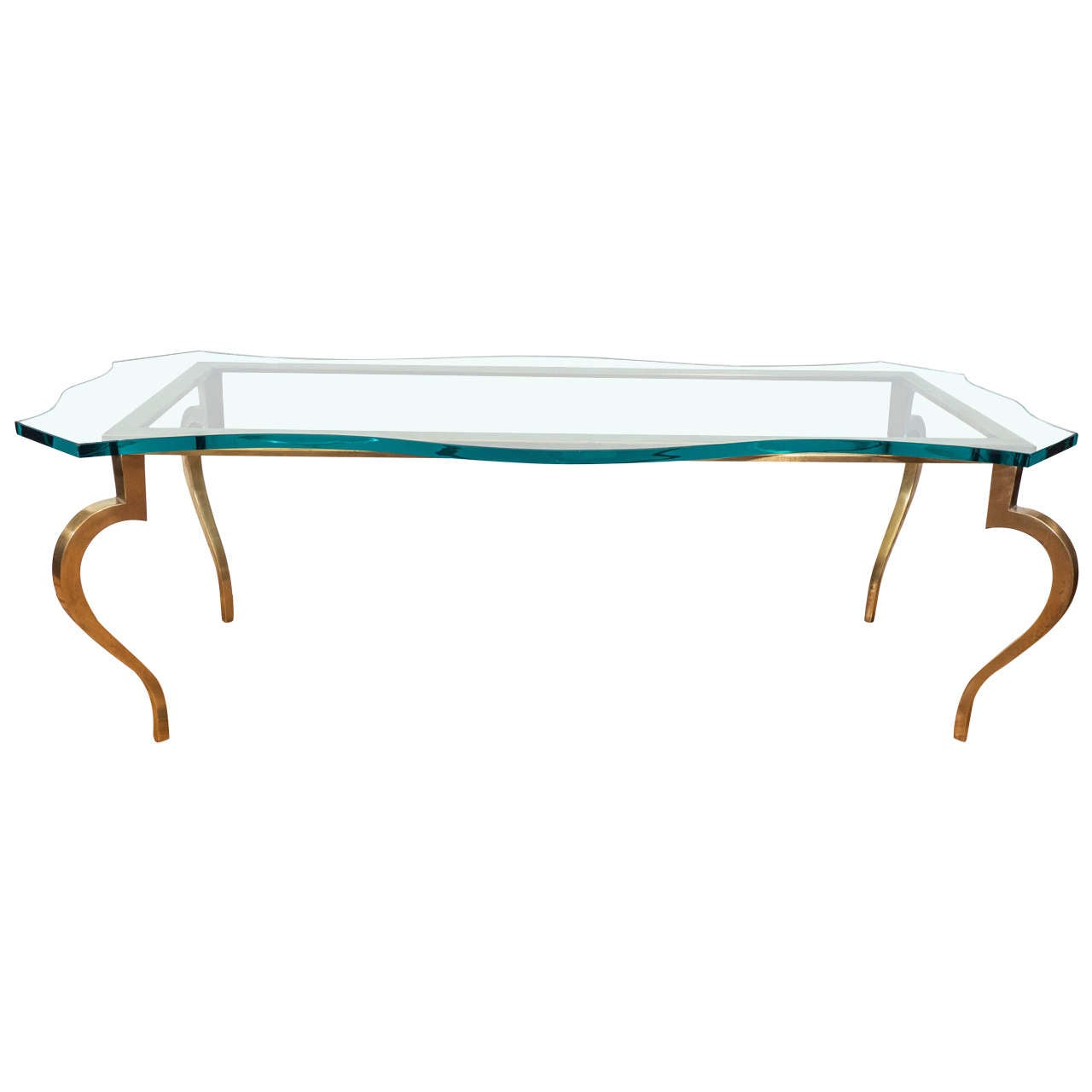 Hollywood Regency Glass Top Coffee And Cocktail Table On Brass Base For Sale At 1stdibs