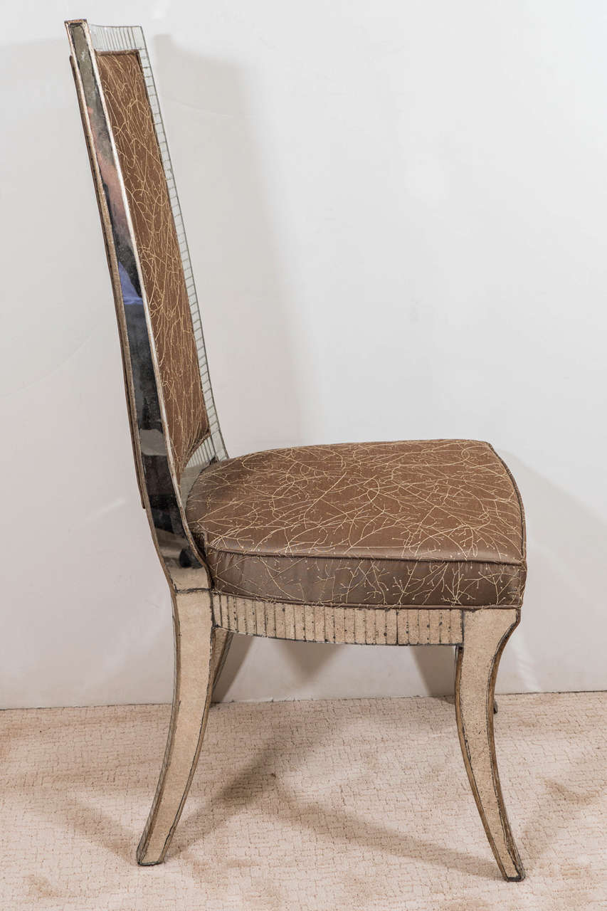 Set Of Four Dining Chairs With Mirrored Frames And Silk Upholstery For Sale A