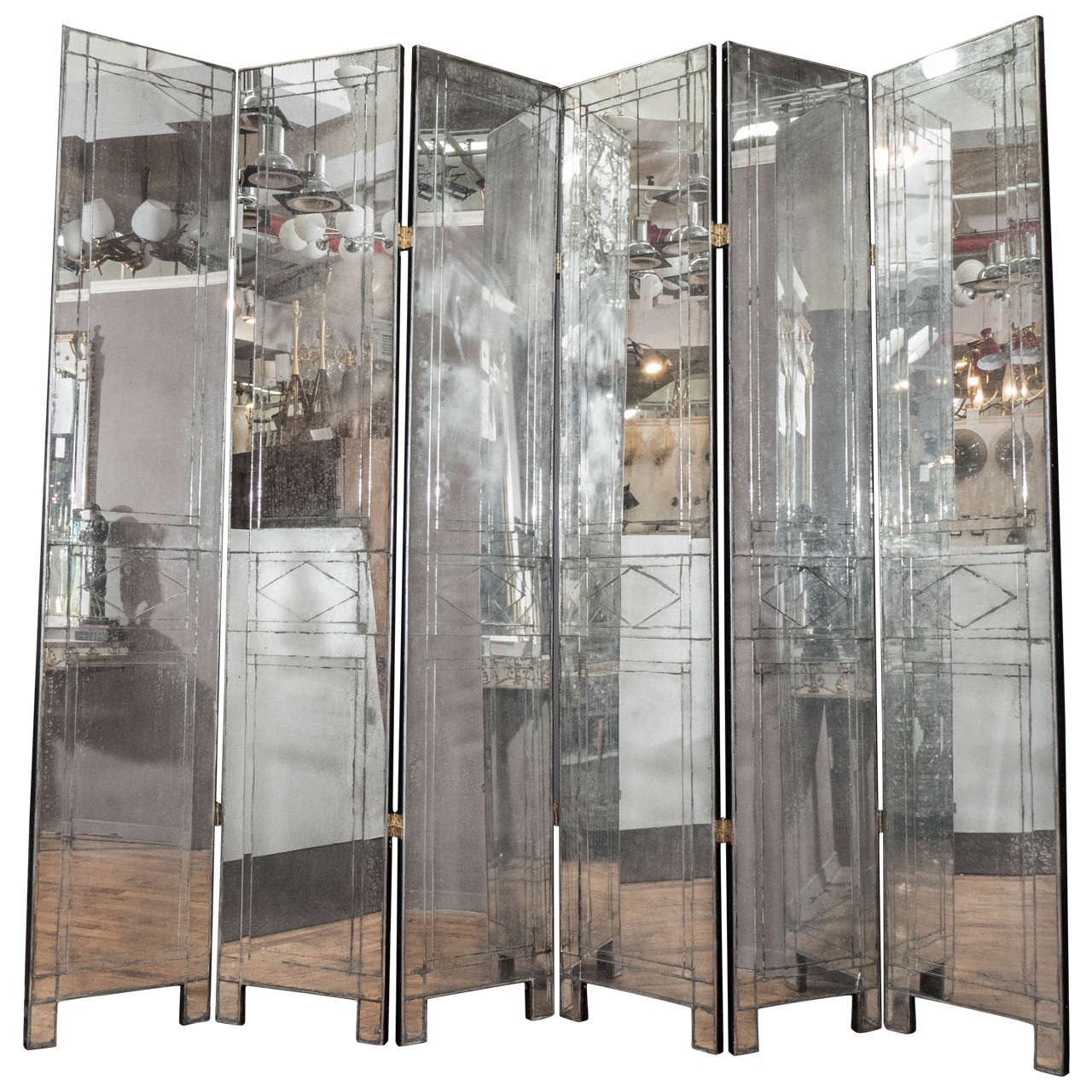 Art Deco Mirrored Six Panel Screen With Chinese Scene On