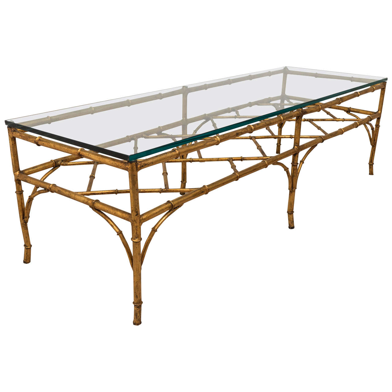 A Midcentury Faux Bamboo Gilded Metal Coffee Table With Bracket Stretcher For