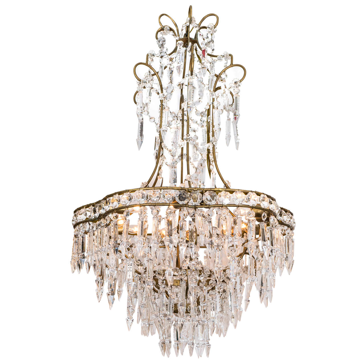 Swarovski Crystal Dollhouse Chandelier: Midcentury Chandelier With Swarovski Cut Crystal Drops For
