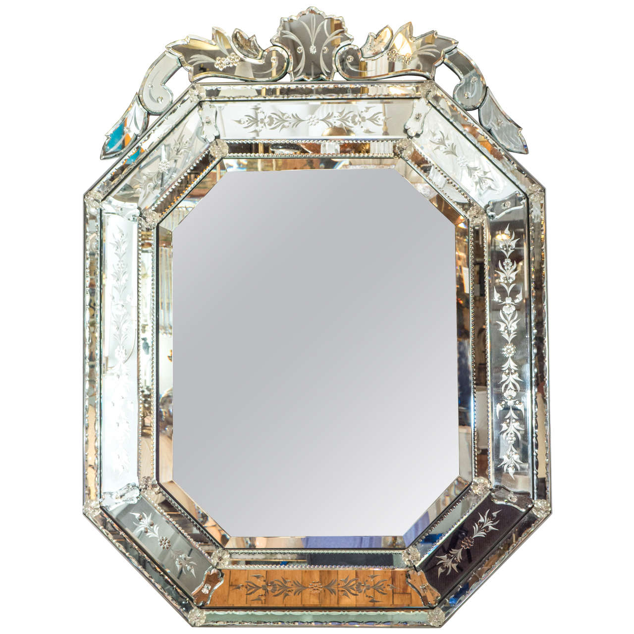 A venetian midcentury beveled wall mirror at 1stdibs for Beveled mirror