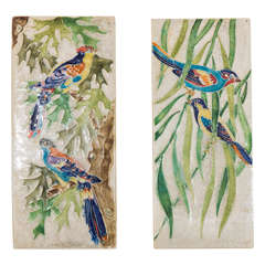 An Italian Pair of Hand-Painted Ceramic Tiles with Perching Birds