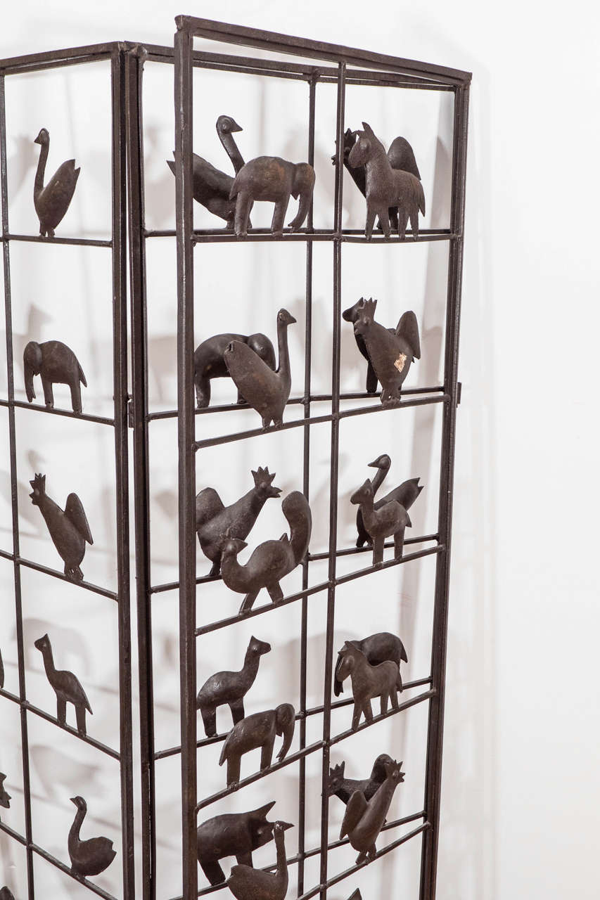 Wrought Iron Room Divider with Animal Motifs at 1stdibs