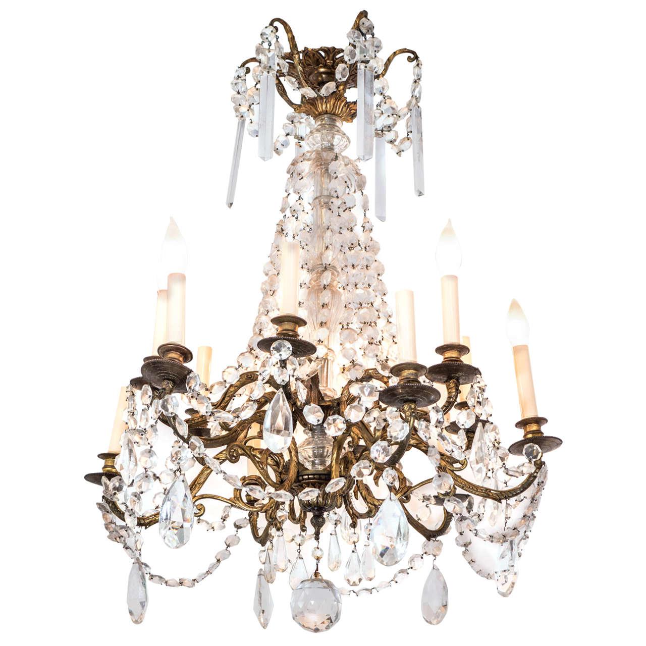 Midcentury gilt bronze twelve light chandelier with crystal drops midcentury gilt bronze twelve light chandelier with crystal drops for sale aloadofball Gallery