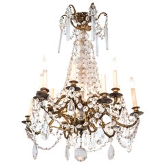 Midcentury Gilt Bronze Twelve-Light Chandelier with Crystal Drops