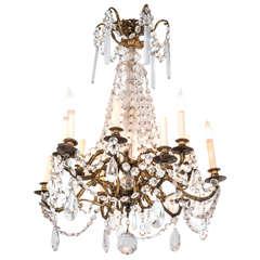 Midcentury Gilt Bronze Twelve-Light Chandelier with Crystal Drops