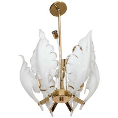 Midcentury Murano Glass and Brass Frame Six Leaf Chandelier