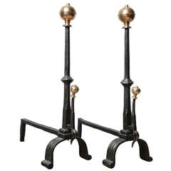 Pair of Bronze and Wrought Iron Andirons