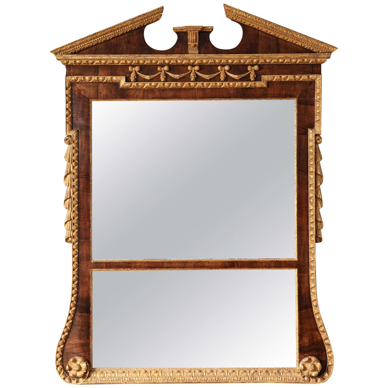 Georgian Walnut And Parcel Gilt Overmantel Mirror 1