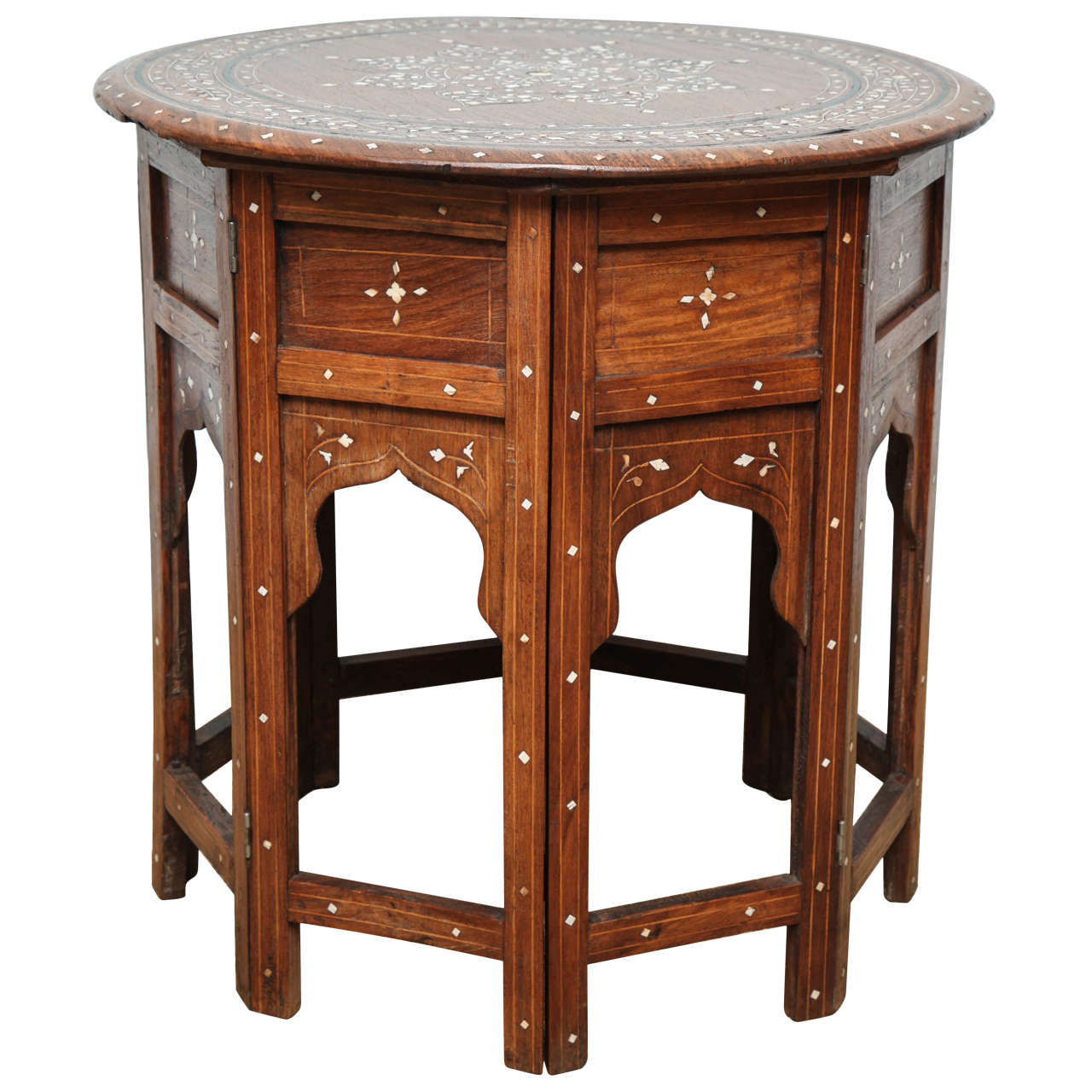 Indian Bone Inlaid Circular Folding Table 1