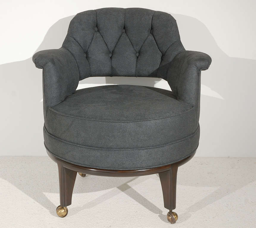 A Distinctive Set Of Four Tub Chairs With Walnut Legs On Brass Casters With  Gently Rolled