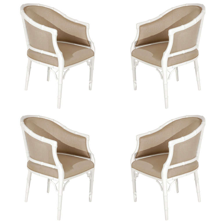 Set Of Four Faux Bamboo Tub Chairs By Monteverdi Young For Sale