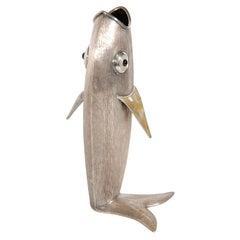 Silver Plate Fish Form Vase by Los Castillo