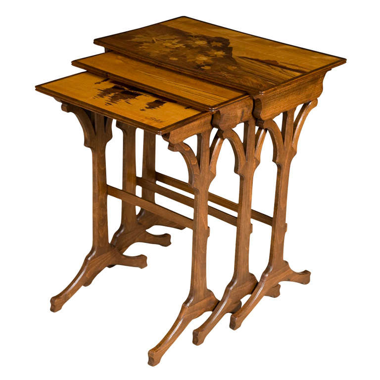 Emile Galle nest of three marquetry occasional tables, France circa 1900